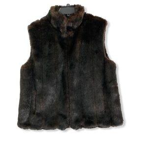 Faux brown fur zip up vest size extra large